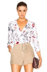 Equipment Adalyn Floral Top In White Floral White Floral