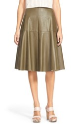 J.O.A. Faux Leather Midi Skirt Green