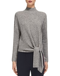 Whistles Tie Waist Ribbed Sweater Gray Marl