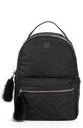 Moncler 'Georgette' Genuine Rabbit Trim Backpack Black