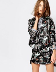 Sister Jane Biker Jacket In Painted Floral Print Co Ord Multi