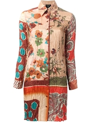 Jean Paul Gaultier Vintage Mixed Print Shirt Dress Yellow And Orange