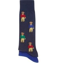 Ralph Lauren Golfer Bear Socks Twin Pack Navy