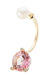 Delfina Delettrez Magic Triangle 18Kt Gold Earring With Topaz Diamond And Pearl Rose