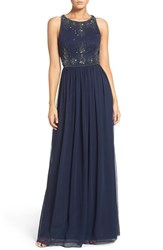 Adrianna Papell Women's Beaded Sleeveless Chiffon Gown Navy