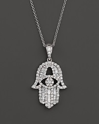 Bloomingdale's Diamond And Baguette Hamsa Pendant Necklace In 14K White Gold .55 Ct. T.W.