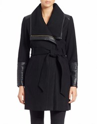 Bagatelle Leather Trimmed Asymmetrical Coat