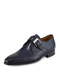 Magnanni For Neiman Marcus Buckle Strap Leather Loafer Navy Blue