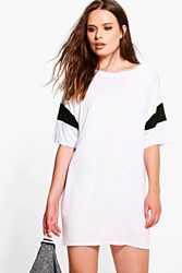 Boohoo Contrast Band T Shirt Dress White