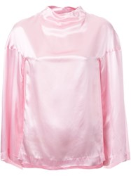 Toga Wide Flutter Sleeve Blouse Pink And Purple