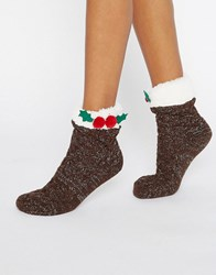 Asos Christmas Pudding Lounge Socks Brown