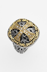 Konstantino 'Diamond Classics' Diamond Cross Two Tone Ring Silver Gold