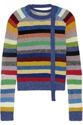 Marc Jacobs Distressed Striped Cashmere Sweater Blue