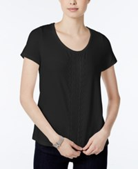 Tommy Hilfiger Short Sleeve Embroidered Top Only At Macy's Black