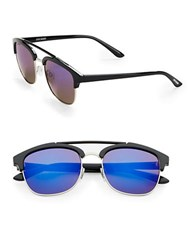 Steve Madden 51Mm Square Aviator Sunglasses Black