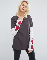 Asos T Shirt With Grunge Rose Print Multi