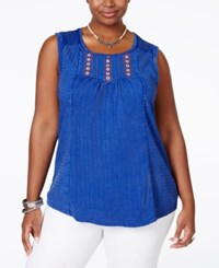 Lucky Brand Plus Size Sleeveless Embroidered Blouse Medium Blue