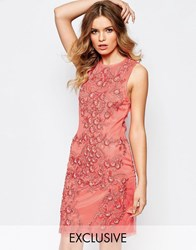 A Star Is Born Allover Luxe Baroque Embellished Mini Dress Coral