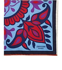 Penrose London Men's Floral Silk Twill Pocket Square Blue