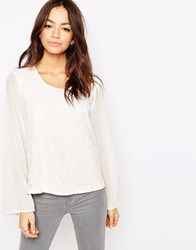 Only Bell Sleeve Textured Top Cloud Dancer White