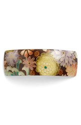 France Luxe 'Volume' Rectangle Barrette Brown Chrysanthemum Brown