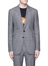 Maison Martin Margiela Glen Plaid High Side Split Wool Blazer Grey Multi Colour