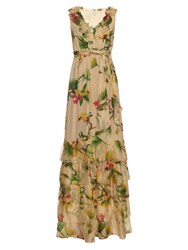 Isolda Ruffle Floral Print Silk Dress Beige Multi