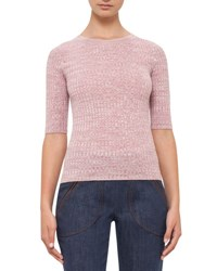 Akris Punto Half Sleeve Knit Wool Sweater Pink Sea Star