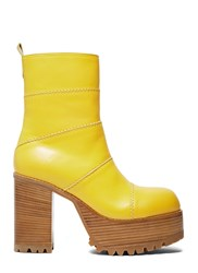 Marni Chunky Leather Ankle Boots Yellow