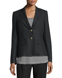 Max Mara Long Sleeve Linen Two Button Jacket Black Size 4