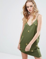 Native Rose Festival Cami Dress With Embelishment Khaki Green