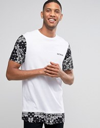 Asos Super Longline T Shirt With Bandana Print Sleeves And Hem And Chest Print White