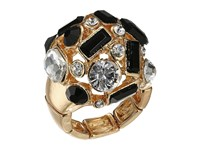 Guess Clustered Stone Dome Ring Jet Gold Crystal Ring Multi