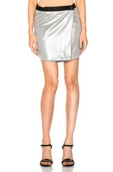Josh Goot Mini Wrap Skirt In Metallics Black
