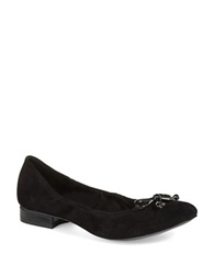 Anne Klein Petrica Leather Bow Tie Flats Black Suede