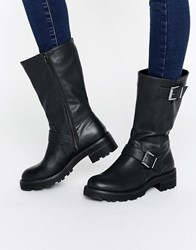 Head Over Heels By Dune Ria Buckle Biker Boots Black