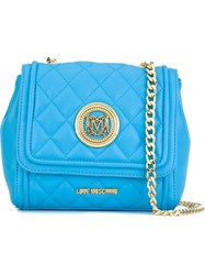 Love Moschino Quilted Flap Closure Cross Body Bag Blue