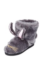 Kate Spade Bethie Faux Fur Bunny Booties Grey Gold Light Pink