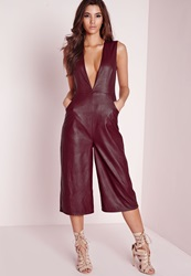 Missguided Faux Leather Deep V Culotte Jumpsuit Red