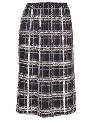 Mother Of Pearl Alwyne Embellished Check Silk Skirt Navy Multi