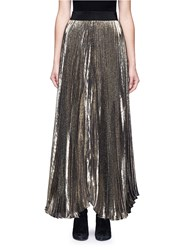 Alice Olivia 'Katz' Metallic Plisse Pleat Maxi Skirt
