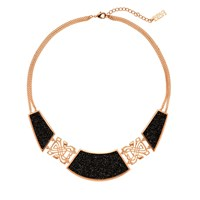 Biba Rose Gold Crystal Fabric Scallop Necklace