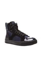 Lanvin Satin Metallic Goatskin High Tops In Black Blue