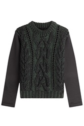 Karl Lagerfeld Wool Pullover With Jersey Sleeves Green