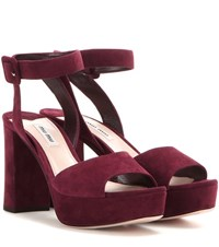 Miu Miu Suede Platform Sandals Red