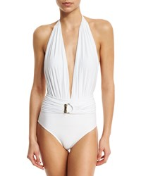Lenny Niemeyer Belted Halter Maillot One Piece Swimsuit White Women's