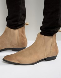 Asos Pointed Chelsea Boots In Stone Suede Stone
