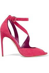 Brian Atwood Michelle Suede Sandals Fuchsia