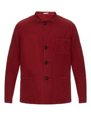 Massimo Alba Patch Pocket Linen And Cotton Blend Jacket Red