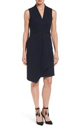 Kobi Halperin Women's 'Jae' Sleeveless Knit Faux Wrap Sheath Dress Navy